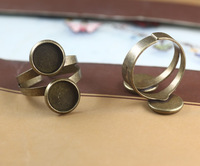 Fit 10MM antique bronze tone adjustable thick two layers ring trays, copper vintage ring settings, ring bezel stamping blanks