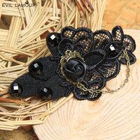 Min.order $15 Free Shipping Hair Jewelry Vampirm Gothic Lace Hairgrip Black Rose Chain Hairclip Bob Pin Gift Hair Accessory FJ66