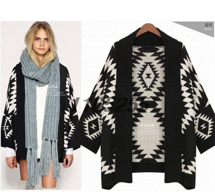2014 Women'S Winter Personality Batwing Cardigan Cheap Oversized Geometric Patterns Aztec Cardigan Woman(China (Mainland))