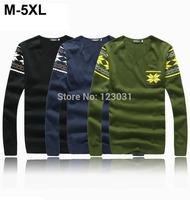 2014 Autumn Winter Men V Neck Long Sleeve Sweater Maple Leaf Printing Top Tees Plus Size M-5XL Sueter Men Camisa