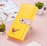 Fashional Sweet Girl  Women's Leather Clutch Wallet Long PU Card Purse Women Handbag Slim Purse Handbag Cute