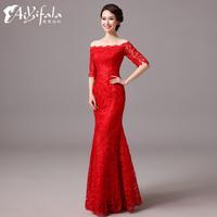 Luxurious elegant embroidery Evening Dresses mermaid half lace prom dress 2014 fashion plus size robe de soiree LF 0010