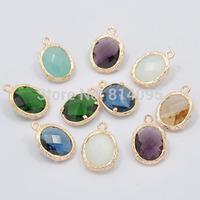 Bezel Stone Earring Connectors - Rose gold Gem making pendant -Links Mix type (120pcs)