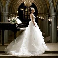 Original Gardenia shoulder Korean luxury flowers princess Wedding Dresses 2014 carpet one shoulder vestido de novia 0100