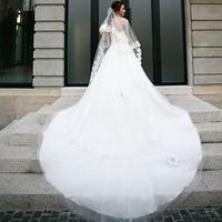 Luxury carpet off the shoulder wedding dress 2014 fashion new style Flower Bra romantic vestidos de noiva plus size hs 027.y