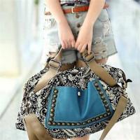 1pc/lot Vintage National Paisley Women Leather Shoulder Bag Autumn Versatile Handbag Rivet Canvas Bag EJ640311