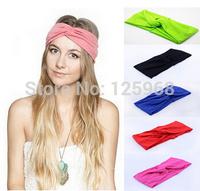 Free Shipping 2014 New 10pcs/lot Twist knot headband stretch lycra turban hair band cross headbands hair accessories girl bow