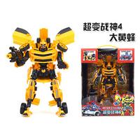 2014 Edition Genuine 27cm Boys Transformation Robot Model Movie 4 Bumblebee Skyscraper Cool Change Robot Car Toy for Kids WJ023