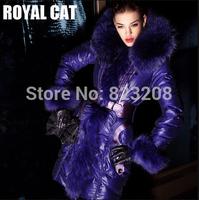Newest fashion Luxury women long down jacket, Solid Violet  Belt Fur Hooded Down Coat Female women clothing,S-XXL-A09311