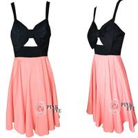 FQ9113 New Arrival 2014 Ladies Cute Prom Dress Pink Bow Dress Women Chiffon Party Dress Pleated Chiffon Dress Free Drop Shipping