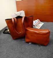 Autumn New arrives ! 2 bags/set  fashion Womens totes bag ladies  big shopping bags brown colour  ipad bag  big travel bag