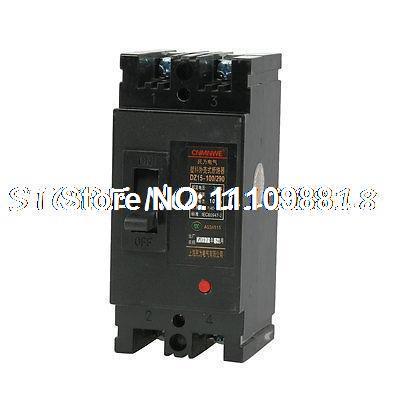 AC 380V 100 ampères 2P 2 poloneses MCCB moldado do caso disjuntor DZ15-100 / 290(China (Mainland))
