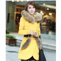 Hot-selling elegant medium-long slim large fur collar winter down coat female