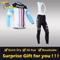 2014 Bianchi winter Fleece Thermal Long Sleeve and Bib Pants Cycling Jerseys /Wear/Clothing/Bicycle/Bike/Riding jerseys/Gel Pad