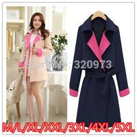 M L XL 2XL 3XL 4XL 5XL size high quality trench coat 2014 new plus size medium long slim overcoat female coat free shipping