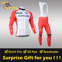 2014 KATUWA winter Fleece Thermal Long Sleeve and Bib Pants Cycling Jerseys /Wear/Clothing/Bicycle/Bike/Riding jerseys/Gel Pad