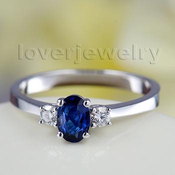 овальной 4x6mm 18k белое золото природный синий сапфир wu220 бриллиантовое обручальное кольцо