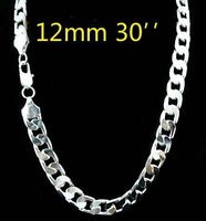 wholesale 925 Silver Silver 12mm necklace for men 30 inch Free shipping ,925 sterling silver chain necklace FASHION men JEWELRY