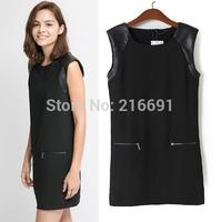 2014 New Fashion women elegant Spell leather sleeveless black mini dress Lady sexy party brand design dresses #E827