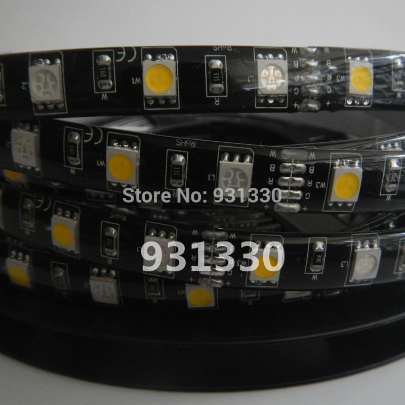 HOT 10M 5050 RGB+WW 60Led/M LED Strip Light Waterproof BLACK PCB 12V(China (Mainland))