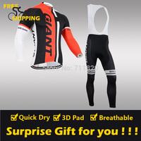 2014 Red GIANT winter Fleece Thermal Long Sleeve and Bib Pants Cycling Jerseys /Wear/Clothing/Bicycle/Bike/Riding jerseys/Gel