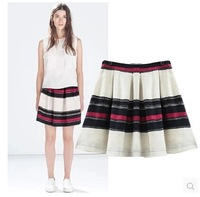 2014 Brand New Fashion Ladies Basic Design Multicolor Stripe Print Skirt Pleated Skirts SML
