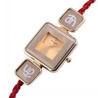 Upstart Watch& Genuine Hide Rope Weave Fashion Watches Women Square Stainless Steel Quartz Watches