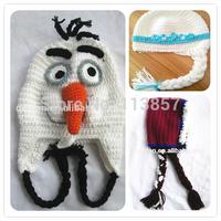 Crochet animal baby hats, crochet frozen elsa hats, frozen anna hats, frozen olaf snowman hats