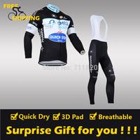 2014 Quick Step winter Fleece Thermal Long Sleeve and Bib Pants Cycling Jerseys /Wear/Clothing/Bicycle/Bike/Riding jerseys/Gel