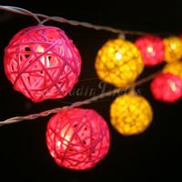 Light yellow&pink Free shipping! 20balls/set 2M Holiday Wedding decoration lights lamp/String Cotton Light