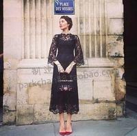 Vestidos De Festa Longo 2014 Elegant Lace vintage dress Cannes Ulyana Sergeenko elegant black spide flare sleeve  Dresses