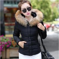New Designer 2014 Fashion Brand Women Cotton Padded Down Jacket Autumn Winter Outwear Zipper Hooded Black Blue Slim Parkas