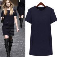 L-5XL European Women Dress Winter New Brief Plus Size Short Sleeve Woolen Dresses Fashion Elegant Femininas Vestidos 6853