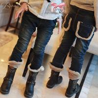 Wild winter warm thick velvet cuffs split denim trousers girls pants plus thick velvet children clothing a generation of fat