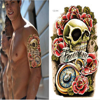 1 x Skull Game Pro Big Size 16 x 22cm Instant Waterproof Temporary Tattoo Sticker Good Quality Free Shipping