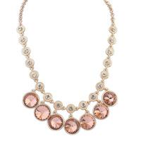 2014 Newest Luxury Shiny Glass Gem Crystal Glod Plated Choker Necklace Geometric Design Beauty Fashion Women Accessories Jewelry