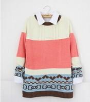 2014 Womens Fashion Stripe Sweater Lady's Sweatshirt Patchwork Long Sleeve Autumn Knitting Wool Blend knitwear Sweater  YS8567