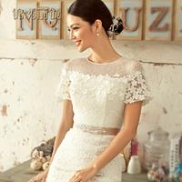 Promotion 2014 bride wedding dress formal dress lace slit neckline short trailing vintage half sleeve bag slim waist  fish tail