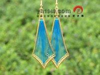 Hand-knitted multicolour silk thread earrings