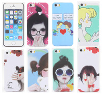 Hot New arrival cute cartoon case Romantic and Pretty Girl pattern PC material Cover case for iphone 5 5S 5G Free shipping IC027