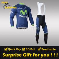 2014 Movistar winter Fleece Thermal Long Sleeve and Bib Pants Cycling Jerseys /Wear/Clothing/Bicycle/Bike/Riding jerseys/Gel