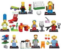 6pcs Building Blocks Sets Anime Movie The Simpsons Action Figures Minifigures Bricks Blocks