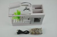 Small Aquarium Fish Tank With Pump USB Desk Turtle Oxygen Clock Table Lamp Calendar