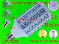 2014 NEW LED Corn Lamp E27 E14 B22 40W 2835 182LEDs Motion sensor Bulb 110V/220V White/Warm White Body sensors LED Corn Light