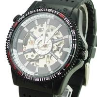 2014 New Original Brand Winner Luxury Fashion Winner Simple Men's Wind Up Silicone Band Mechanical Wrist Watch
