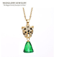Neoglory Austria Crystal & Rhinestone Zinc Alloy 14K Gold Plated Lion Design Necklace Pendant for Women 2014 New Party Gift