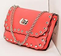 Promotion 2014 New Women's Shoulder Bags leather handbag rivet chains fashion mini lady Crossbody Bag High Quality Wallets Women