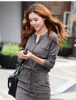 2014 Autumn Winter Women Clothing Long Sleeve Elastic Waist Casual Dresses Zipper Novelty Vestidos Mini Dress