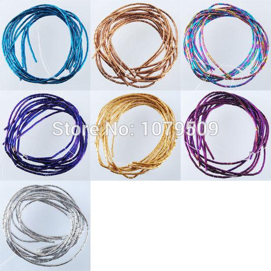 Free shipping Fashion Jewelry Hematite 2mm x 4mm Column Tube Loose Beads 16 '' VBG071(China (Mainland))