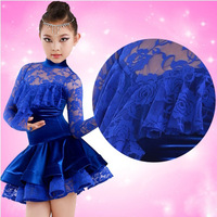 Girl's pleuche latin dance dress blue color with lace long sleeve compete dress new